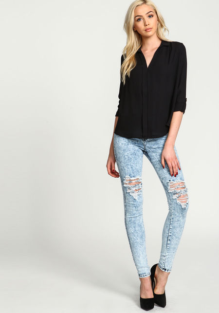 Cool blue acid rip knee high waist jeans