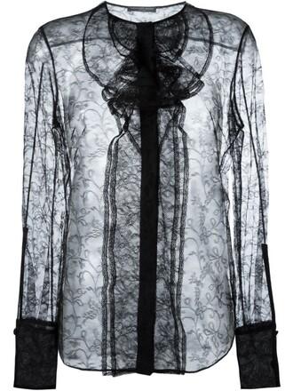 blouse sheer women lace black silk top