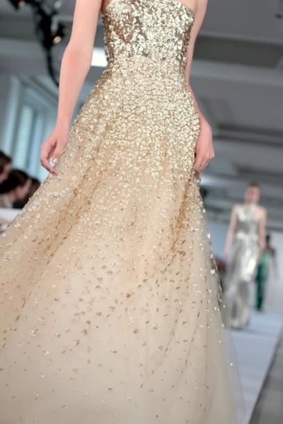 dress gold oscar de la renta gown runway oscar de la renta resort 2013 OSCAR DE LA RENTA DRESS