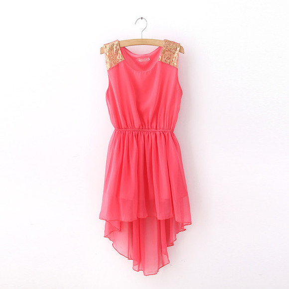 mini dress red dress paillette irregular  dress bohemia dress paillette dress irregular dress watermelon dress mini dresses Paillette Shoulder Dress