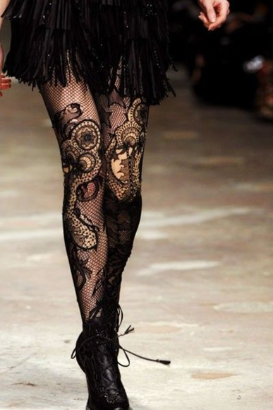 lace black runway skirt pants black lace underwear tights boot