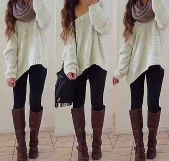 sweater scarf bag shoes jewels top hipster outfit fall outfits boots leggings soft boho jeans knitted sweater tan slouchy sweater cardigan blouse white sweater denim oversized white sweater oversized sweater cute outfits pinterest brown knee high boots jacket