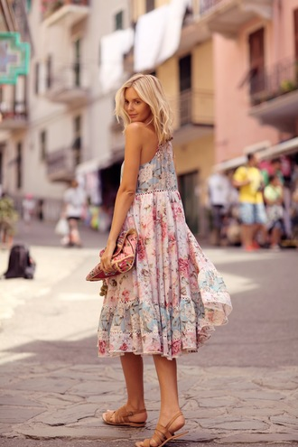floral dress blogger tuula bag jewels sandals
