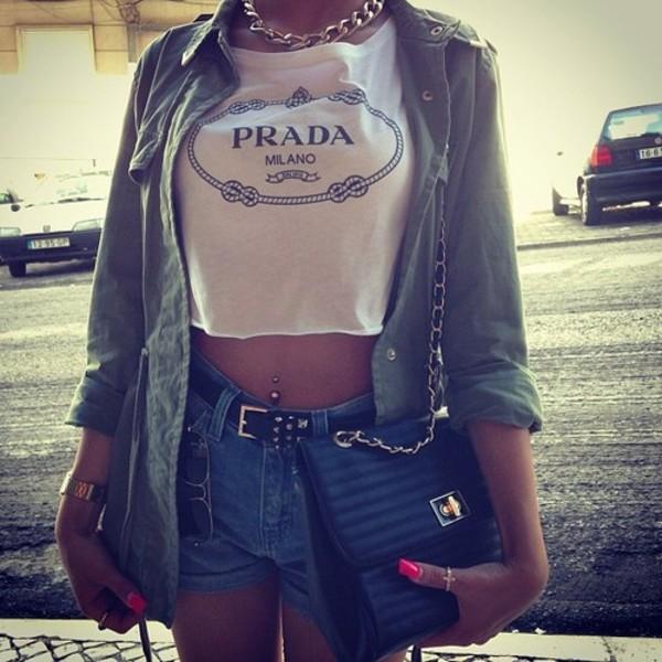 shirt prada crop tops luxury jewels jacket bag shorts nails gold chain t-shirt