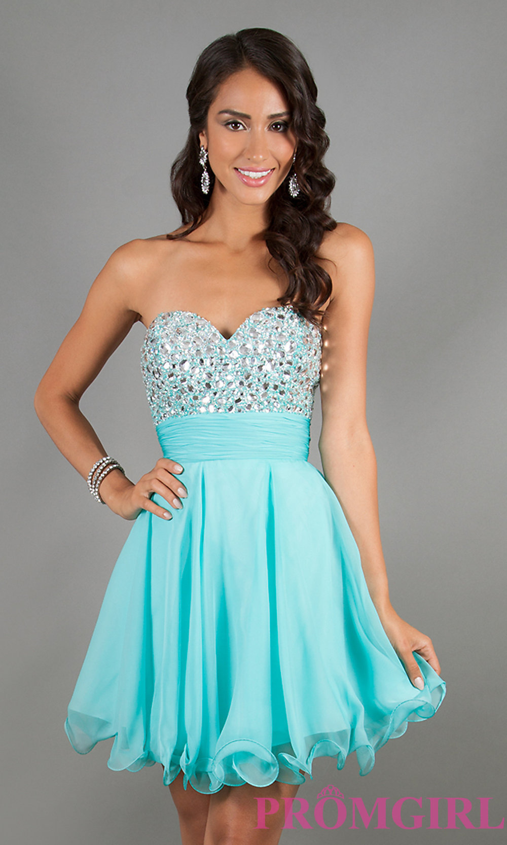 Strapless Beaded Short Prom Dress by Alyce Paris 3558