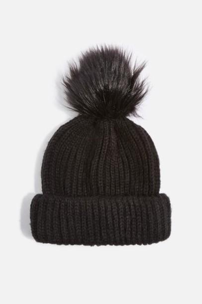 Topshop fur faux fur hat beanie black