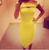 dress,yellow,birthday dress,midi dress,off the shoulder dress,bodycon dress