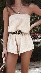 romper,brown,tan,gucci,strapless,jumpsuit,jumper,gold