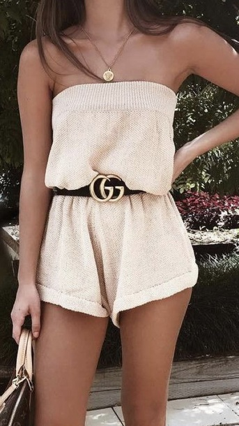 romper brown tan gucci strapless jumpsuit jumper gold sweater cute cream taupe beige sleeveless