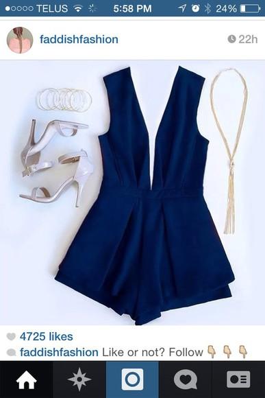 short jumpsuit navy v-neck fancy