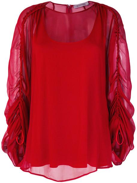 blouse sheer women spandex silk red top