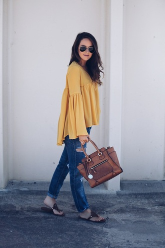 fashionably kay blogger blouse shoes jewels yellow top bag handbag brown bag straight jeans flats spring outfits