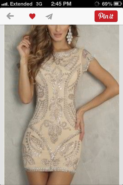 dress this exact dress. beige beige dress prom dress strass homecoming dress nude dress formal dress short tight formal beading short dress gold sequins clothes cute classy nude jewels