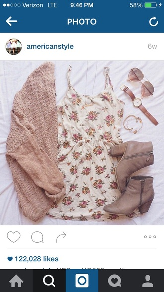 shoes dress romper floral cute outfits summer floral dress boots booties rayban sunglasses