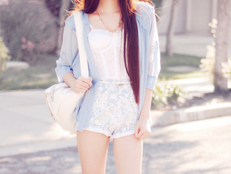 top shorts light blue white pattern high waisted shorts singlet white see through lace