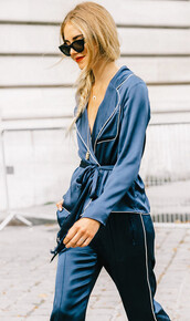 shirt,pajama set,pajama pantsuit,tumblr,blue shirt,pants,blue pants,two piece pantsuits,power suit,sunglasses,streetstyle,pajamas,petrol,crescent pendant,pajama style,satin shirt,satin,jewels,the blonde salad,chiara ferragni,blogger,jewelry,necklace