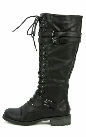 shoes black boots lace up buckle boots