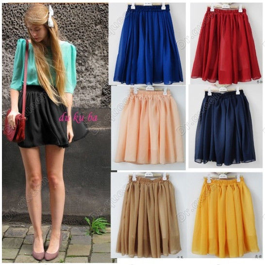 Women Retro Elastic Waist Pleated Double Layer Chiffon Short Mini Skirt Dress | eBay