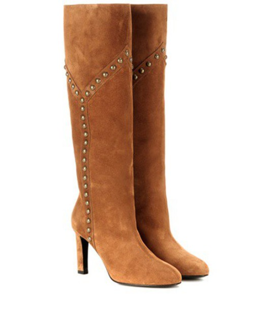 Saint Laurent embellished boots suede boots suede brown shoes
