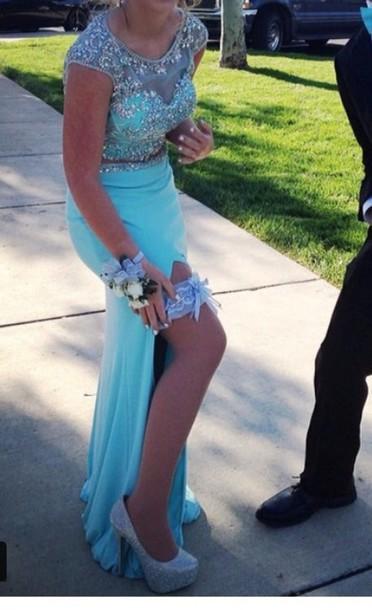 dress 2piece dress blue prom dress teal dress prom dress sparkly dress long prom dress prom gown