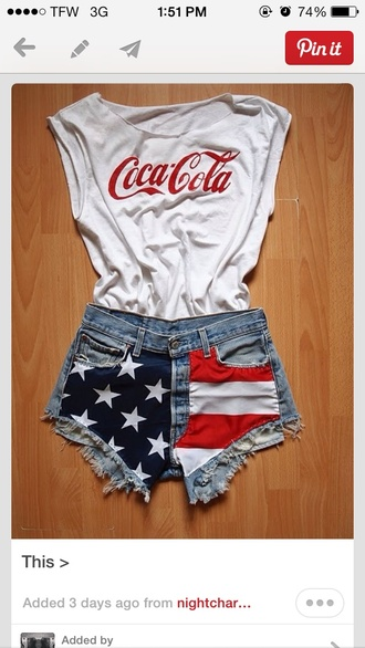 shorts coke tank top high-wasted denim shorts shirt coca cola