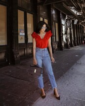 top,tumblr,ruffled top,red top,ruffle,denim,jeans,blue jeans,cropped jeans,pumps,bag,black bag,sunglasses
