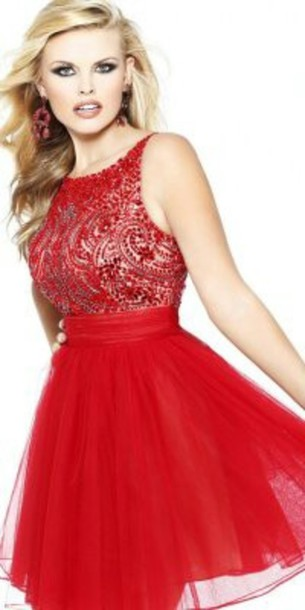 Dress: red dress, red prom dress, short prom dress, cute dress ...