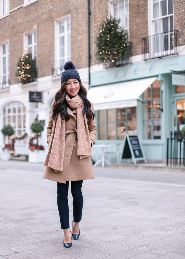 coat tumblr camel camel coat scarf knitted scarf beanie pom pom beanie black beanie knitwear pants black pants pumps pointed toe pumps high heel pumps black heels winter work outfit shoes zara skinny pants knit hat winter outfits
