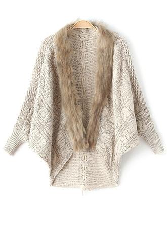 cardigan warm cozy fashion style trendy beige fur nude knitwear long sleeves