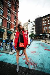 style scrapbook,blogger,jacket,dress,shoes,bag,baseball jacket,red jacket,crossbody bag,red bag,ankle boots,college jacket,college,letterman jacket,back to school,JW Anderson bag