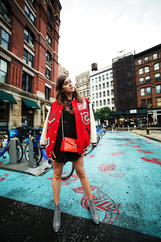 style scrapbook blogger jacket dress shoes bag baseball jacket red jacket crossbody bag red bag ankle boots college jacket college letterman jacket back to school