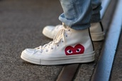 shoes,converse,high top converse,comme des garcon,tumblr,white,heart