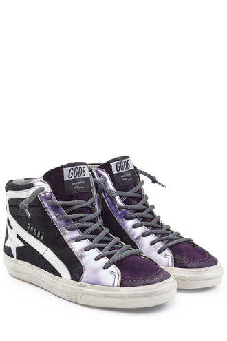 sneakers. high sneakers leather suede purple shoes