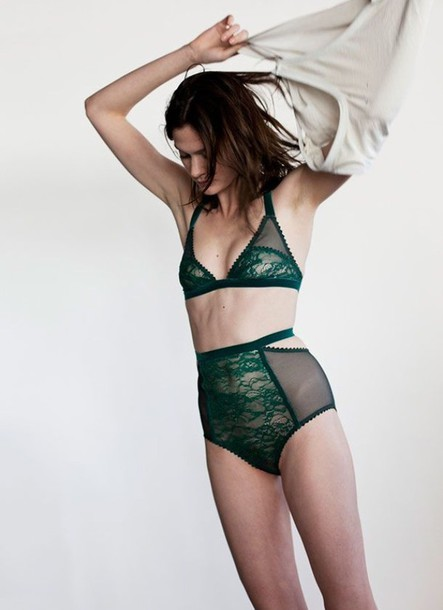 underwear green bralette lace lingerie high waisted forest green