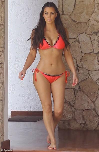 swimwear, kim kardashian, pink, sexy, beautiful, bikini ...