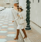 life & messy hair,blogger,sweater,hat,bag,shoes,jewels,louis vuitton bag,boots,brown boots,white pants,fall outfits