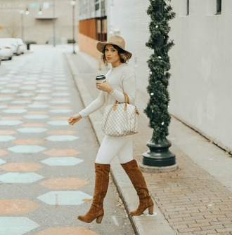 life & messy hair blogger sweater hat bag shoes jewels louis vuitton bag boots brown boots white pants fall outfits
