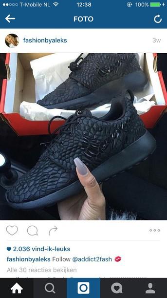 shoes nike roshe runs all black everything studs sneakers nike sneakers nike shoes black