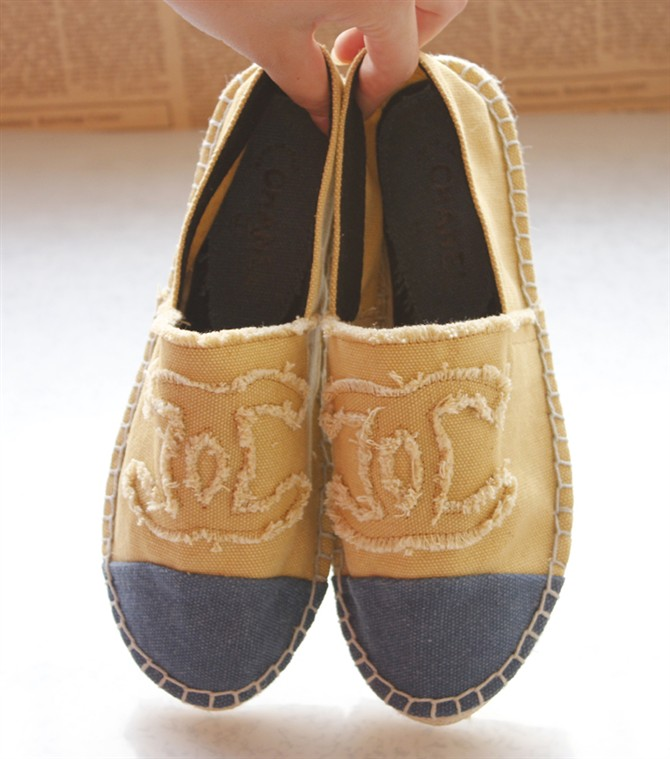 chanel canvas espadrille flat shoes sneakers yellow