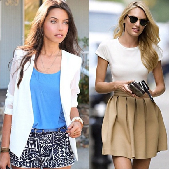blue blouse clothes skirt tribal shorts beige skirt victoria's secret model profesional classy white blazer white t-shirt