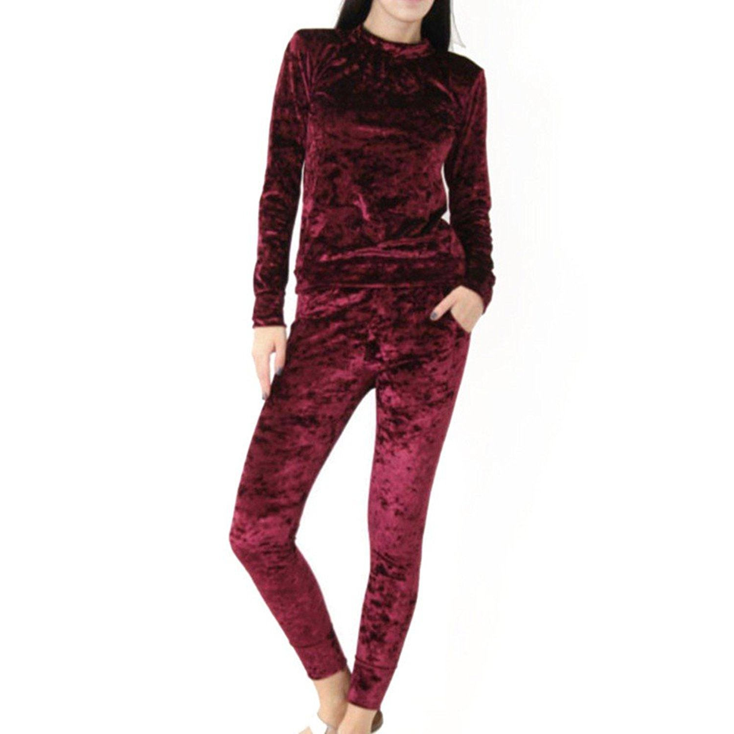 Daxin Womens Crushed Velvet Suit Sweatshirt Pants Lounge Wear Two Piece Set Tracksuit Jogger at Amazon Women's Clothing store: