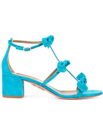 bow women sandals leather blue suede shoes