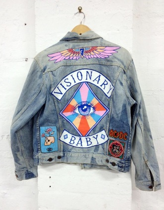 jacket iron on patches colorful letters blue jean jacket denim jacket