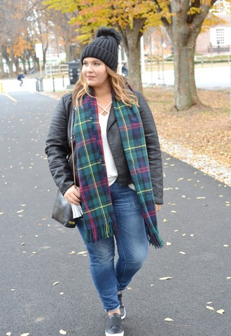 mommyinheels blogger jacket top jeans shoes hat bag scarf fall outfits beanie tartan scarf shoulder bag plus size skinny jeans