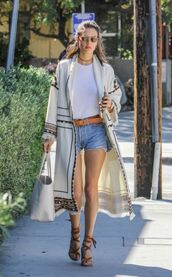 cardigan,shorts,spring,spring outfits,sandals,alessandra ambrosio,top,necklace,sunglasses,belt,model off-duty,coat,shoes