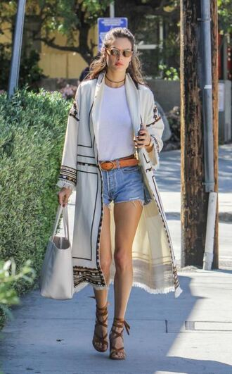 cardigan shorts spring spring outfits sandals alessandra ambrosio top necklace sunglasses belt model off-duty coat shoes