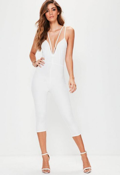 Missguided White Harness Plunge Romper