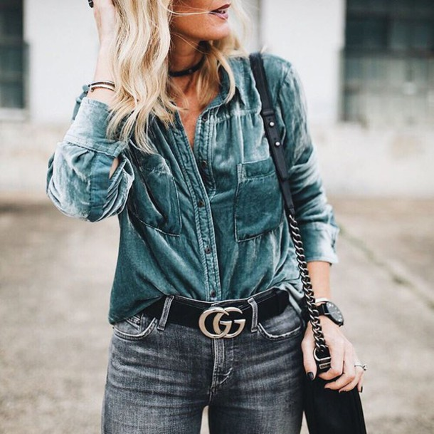 shirt tumblr teal velvet blue shirt jeans grey jeans gucci gucci belt logo  belt belt bag 764f8bccdcb7