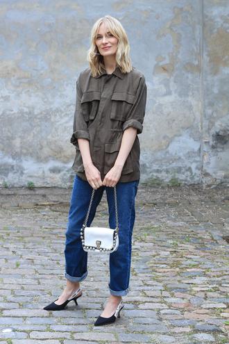 shirt green shirt dior tumblr denim jeans blue jeans mom jeans slingbacks shoes kitten heels bag white bag