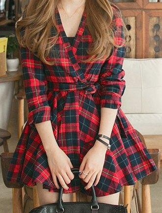 dress zaful plaid dress plaid red black long sleeves long sleeve plaid fit and flare dress fall outfits fashion style